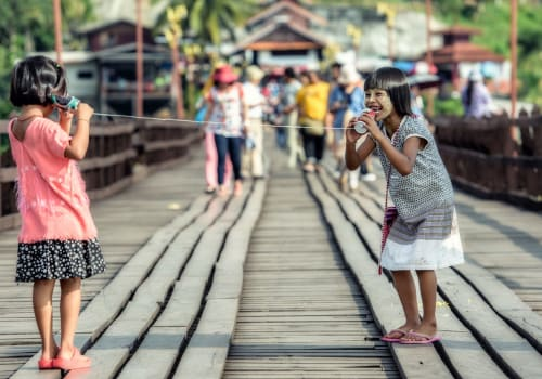 family of tourists taking pictures