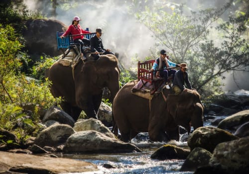 kids crossing the river riding elepahnts