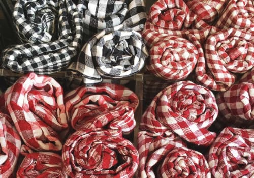 Traditional Khmer scarves rolled in the box