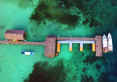 Aerial view of a deck over clear water