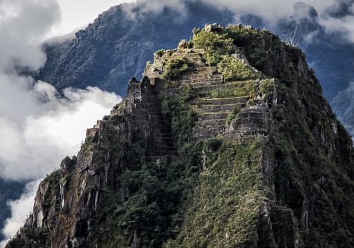 Close,Up,View,To,Top,Of,Huayna,Picchu,With,Terraces,