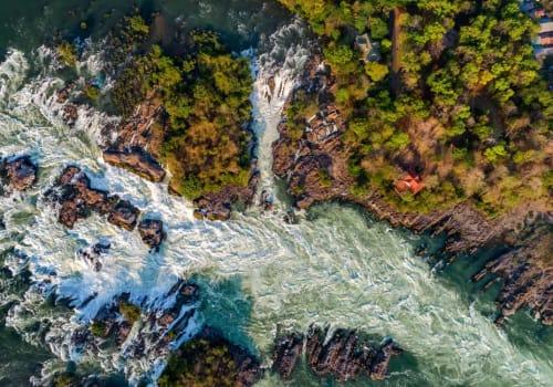 Aerial view of Khone Falls
