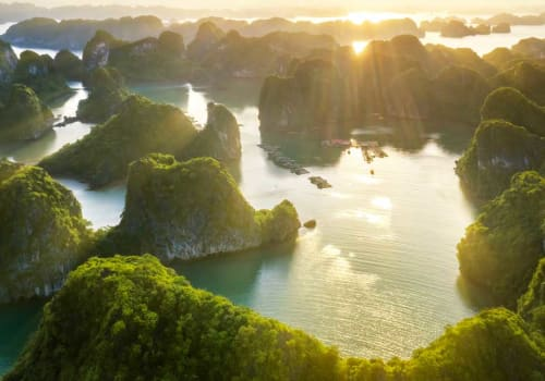 Aerial view of Halong Bay in early morning