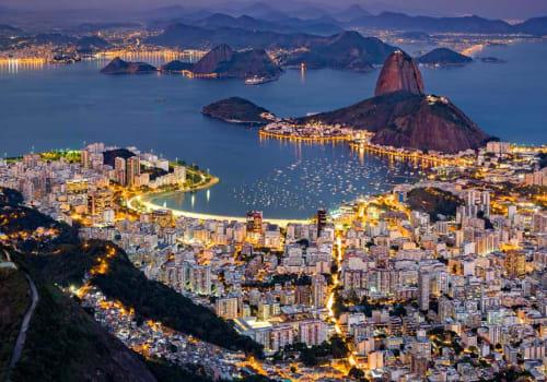 Rio de Janeiro aerial view after dark