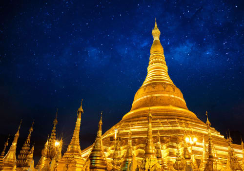 Shwedagon Pagoda under the starry sky