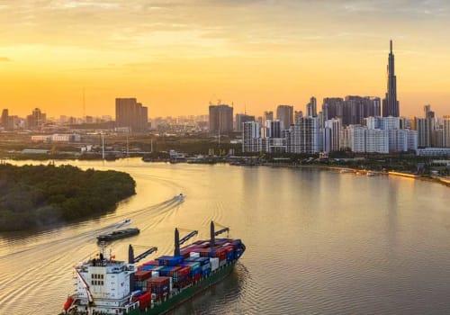 Ship on a Saigon River at sunset