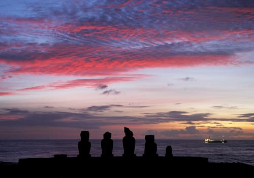 Sunset And Moai At Easter Island