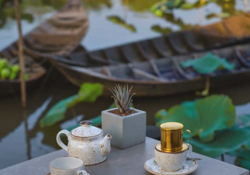 Coffee set on a table by the river