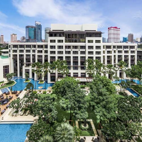 Large hotel with pools complex