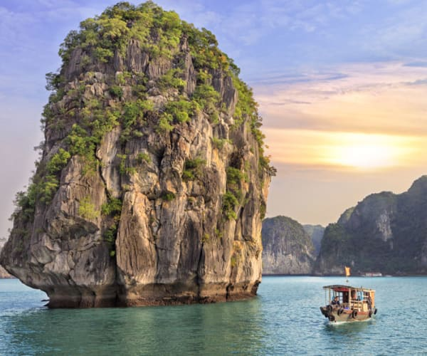 Long tail boat in the Halong Bay