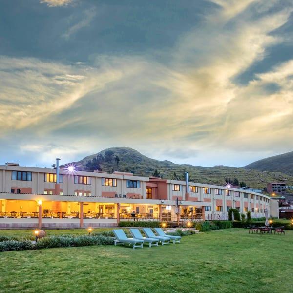 a hotel at lake titicaca shore