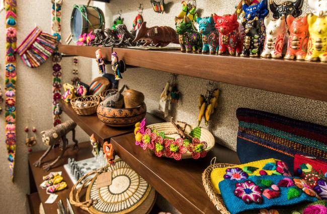 Colourful souvenirs on the shelves