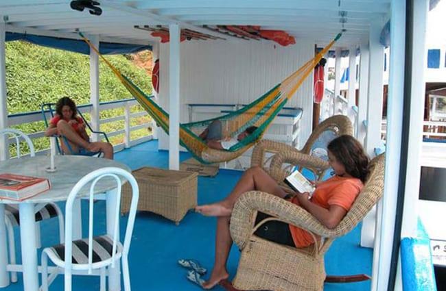 People relaxing onboard