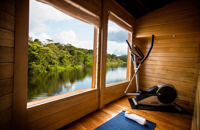 Exercise room with the river view