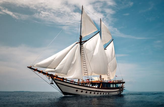 Ship with sails up