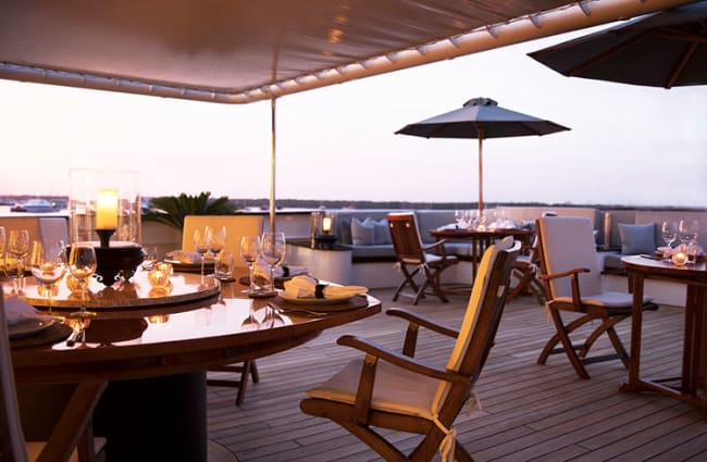 Tables on the deck