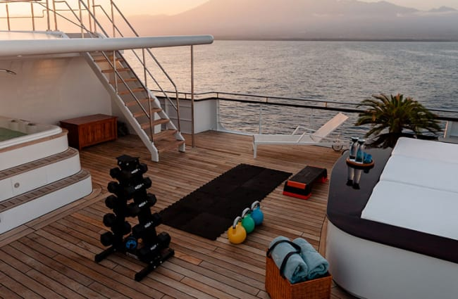 Gym equipment on the deck