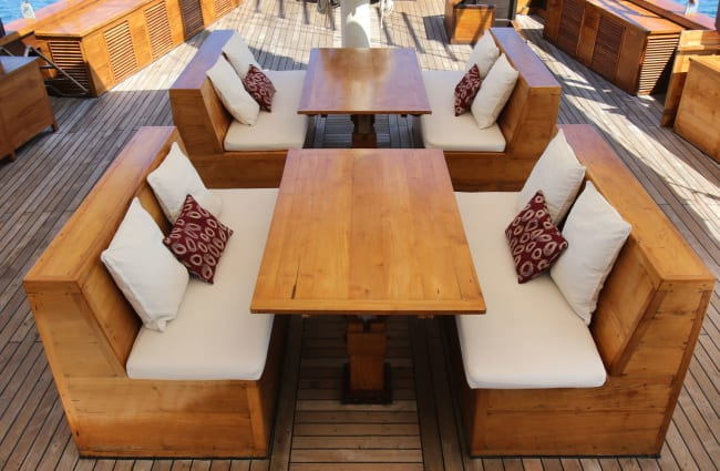 Tables with benches on the deck