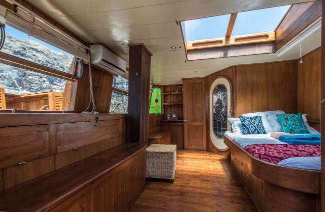 Cabin interior with skylight