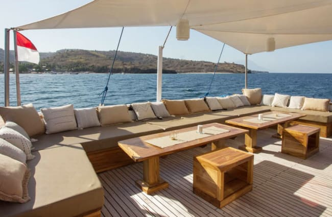 Outdoor sitting area onboard