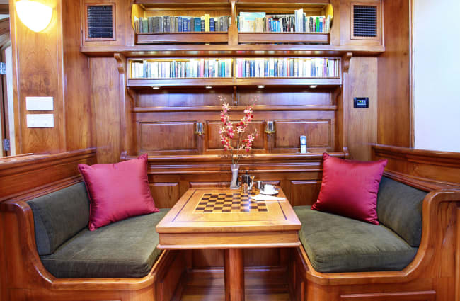 Sofas and table with chess board