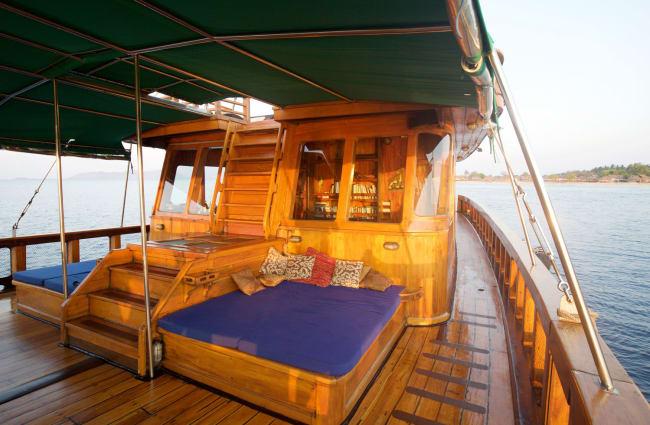 Sun beds on the upper deck