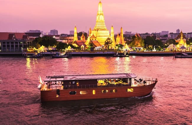 Ship on the river with Bangkok in the background