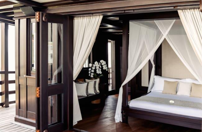 Large bedroom with door wide open