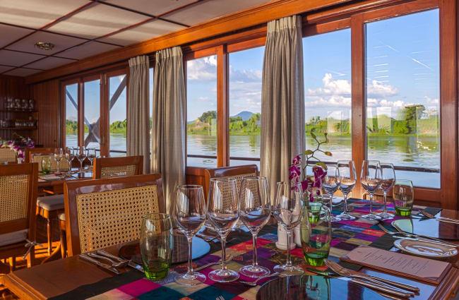 Restaurant onboard Mekong Pandaw