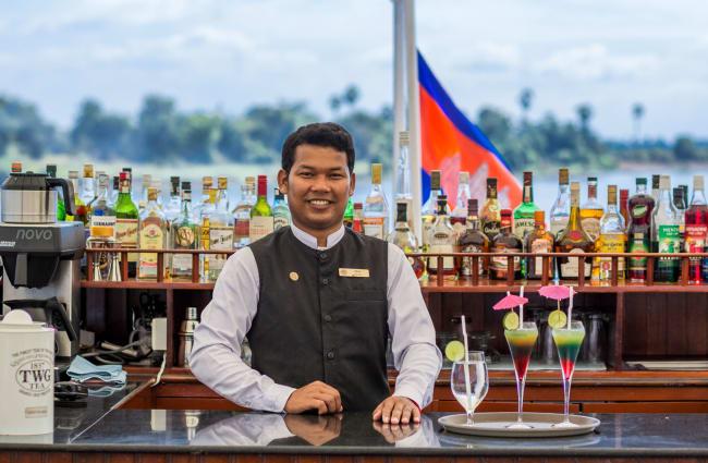 Bartender at the outdoor bar