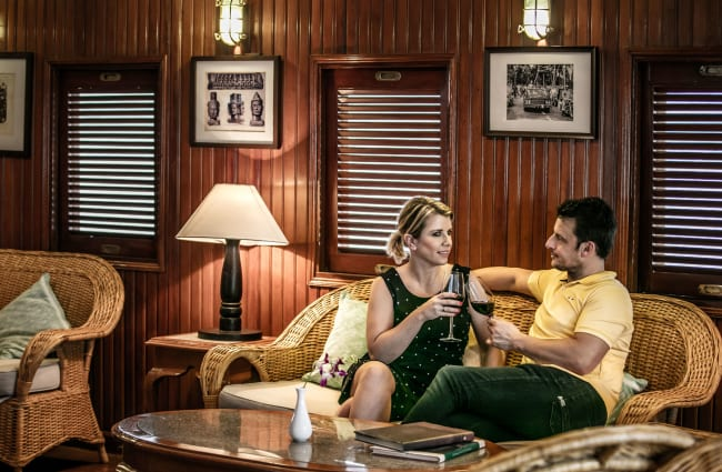 Couple on a sofa at the indoors lounge