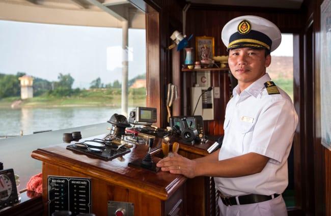 Captain on a bridge