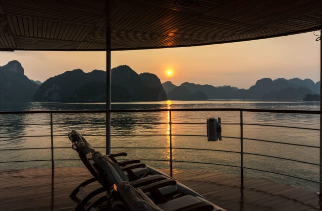 The view of the Ha Long Bay from the deck