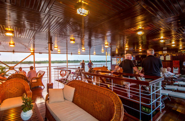 The outdoors lounge onboard Angkor Pandaw