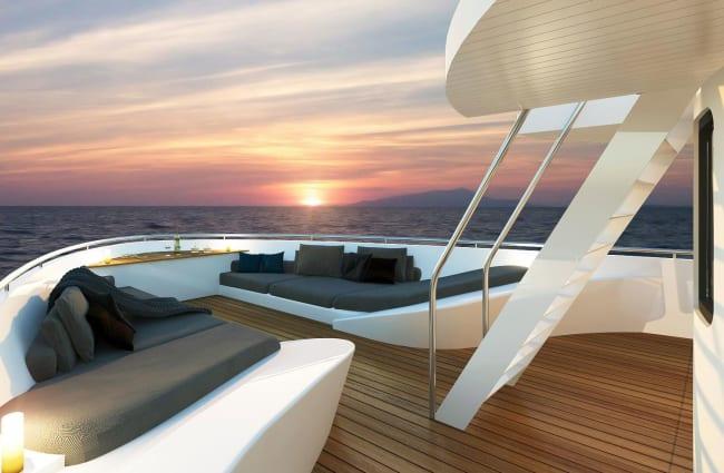 Ship's bow with sun beds