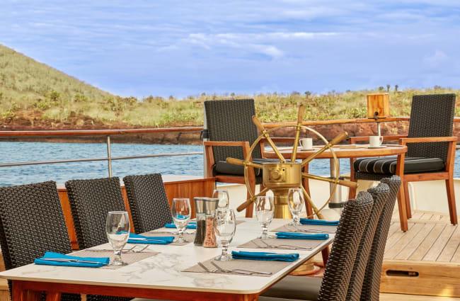 Tables on a sun deck
