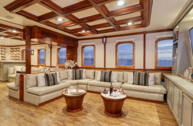 Bar with comfy light sofas