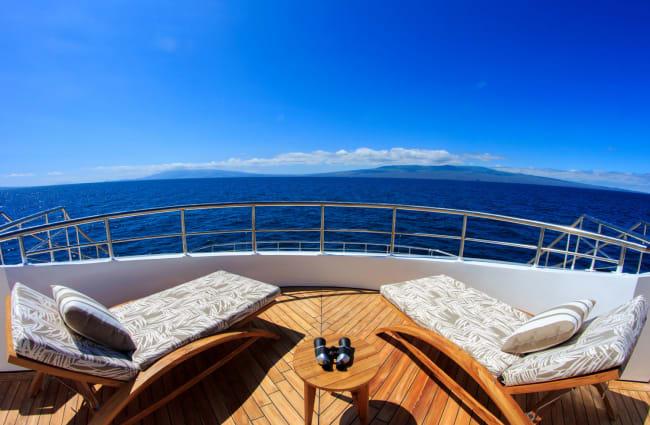 Sun beds on the deck