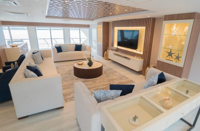 Indoor lounge with sofas and tv