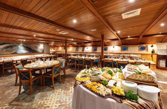 Buffet style dinner setup at the restaurant