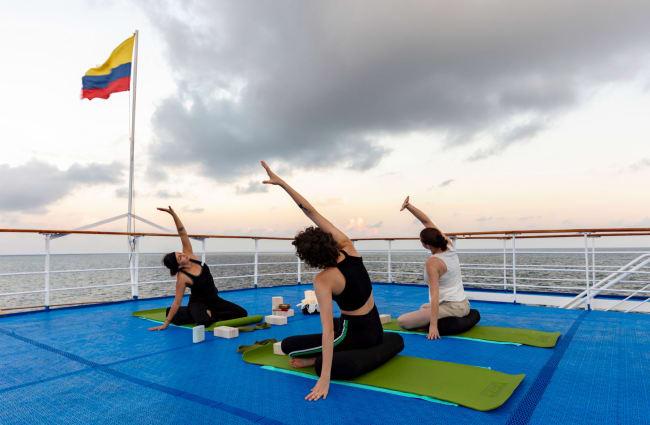 Yoga class on the deck