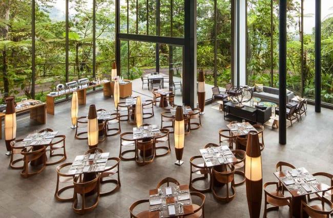 Spacious restaurant with panoramic large windows