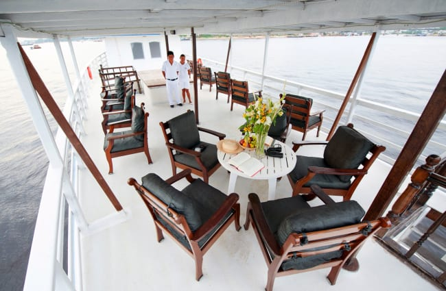 Deck observation area with tables