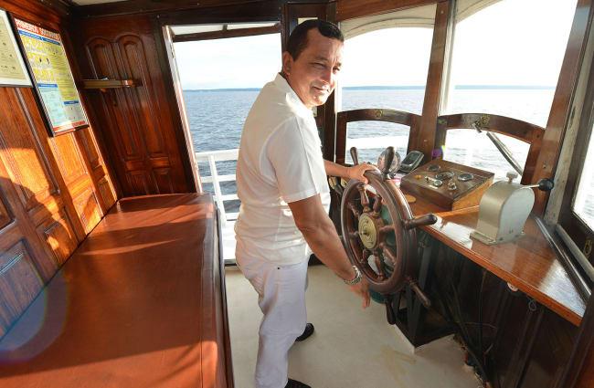 A captain on the bridge