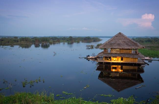 Floating Restaurant in Amazon Rainforest