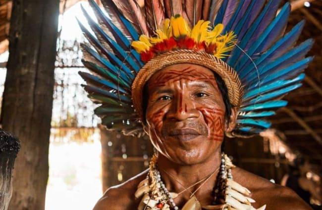 native brazilian with feather headdress