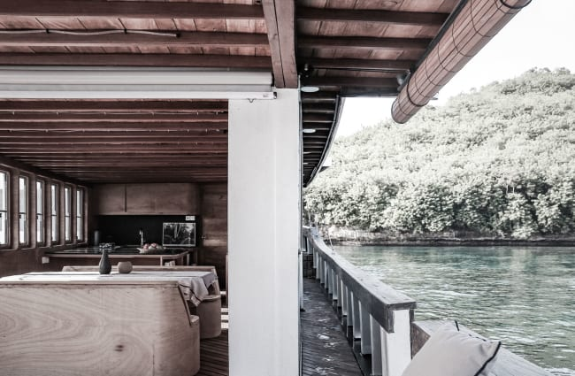 Lounge and a side of the boat