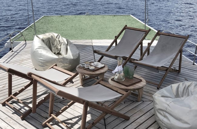 Chairs and coffee table on the deck