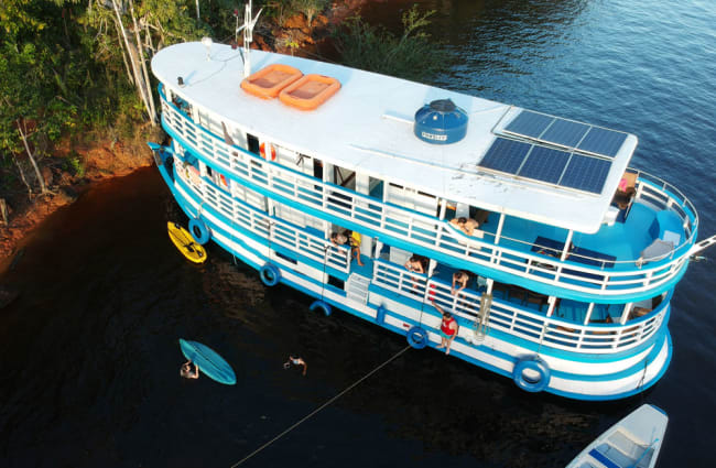 Solar panels on the roof of the boat