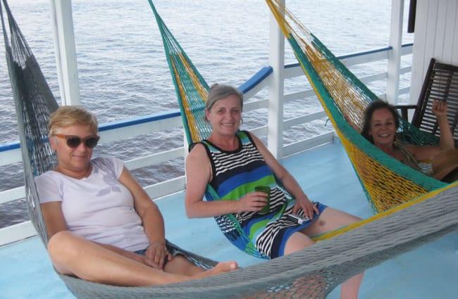 Passengers in the hammocks